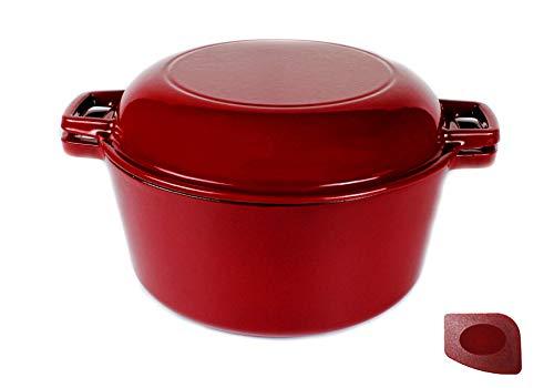 Pinnacle Cookware - 4.73 litros / 5 cuartos de galón de hierro fundido rojo esmaltado doble horno holandés...