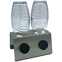 Abtropfhalter 2.1 aus Edelstahl für z.B. Sodastream Crystal/Source / Fuse/Easy / Cool / 0,6l Emil Flaschen Flaschenhalter Abtropfgestell