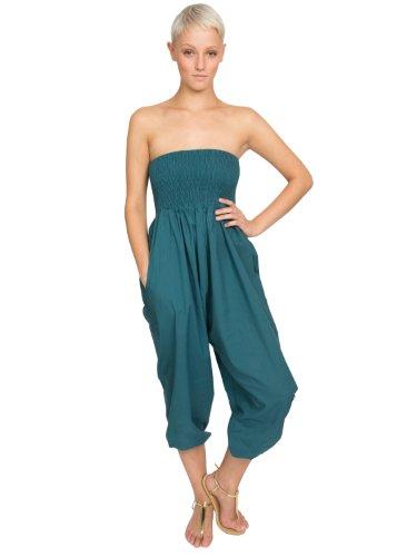 Combinaison et Pantalon 2 à 1 'Harem Ali Baba' en Coton Sarcelle