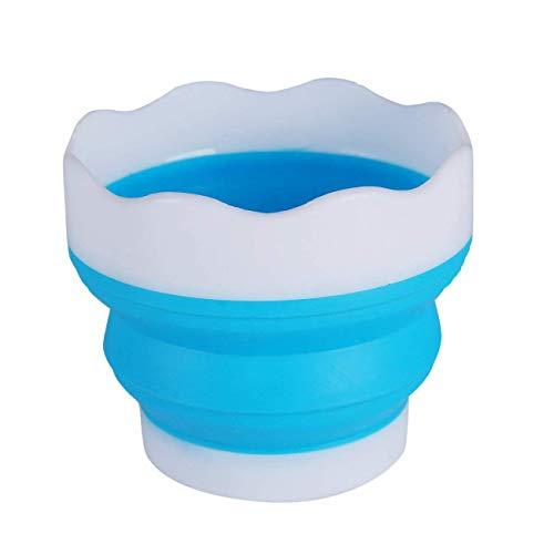 Tragbarer Pinselreiniger mit Pinselhalter, blau, wiederverwendbar, Wasserbecher für Aquarell Acryl Ölmalerei Premium Art Supplies - Acryl Pinsel-reiniger