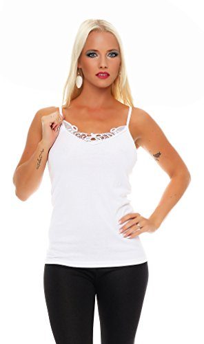 2er Pack Damen Unterwäsche mit Spitze (Unterhemd, Träger-Top, Shirt) Nr. 421 ( Weiß-Weiß / 56/58 ) - 2