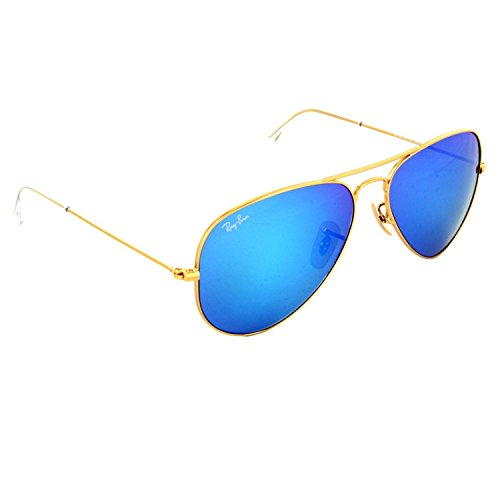 Ray-Ban RB3025 112/17 58/14/3N Aviator Non-Polarized Sunglasses, Golden Frame Medium size Blue Mirrored Lens, 58mm  available at amazon for Rs.4500