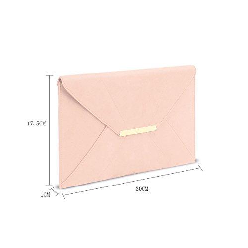 Anna Smith Damen Umschlag Clutch mit Gold Metallkette Strap Abendtasche leggero rosa