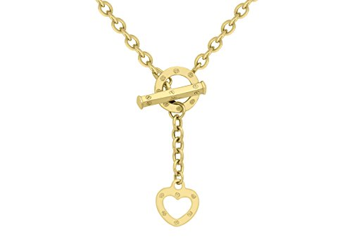 Carissima Gold 9 ct Yellow Gold Heart T Bar Belcher Curb Chain Necklace of 46 cm/18 inch