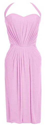 MACloth Women Halter Midi Sexy Jersey Short Cocktail Party Dress Evening Gown Rosa