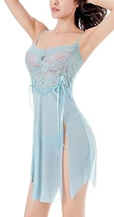 RZS Donna Prospettiva Lace Sexy Lingerie Esotico Pizzo Capestro Lungo Pigiama [2 pezzi] Fionda Chemise Con G-String(Azzurro)