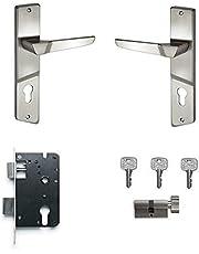 Godrej NEH 12 1CK Zinc Alloy Door Handle Set with Lock Body and Cylinder (20 cm)