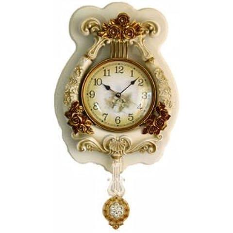 YUENLONG Relojes retros de arte reloj reloj creativo europeo clásico antiguo reloj de pared relojes de mesa la serie living comedor Cruz negro H060M,Blanco como la