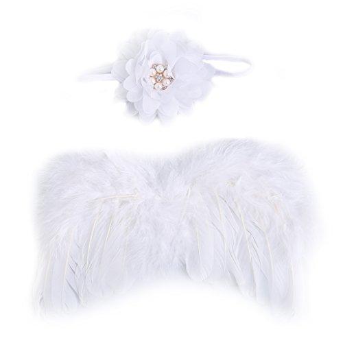 Yunso 1Set Cute Angel Baby Feder Neugeborenen Fotografie Requisiten Flügel Kostüm Stirnband (Weiß)