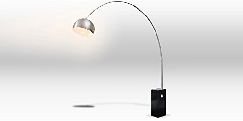 Bogenlampe VIVIANA Marmor und Edelstahl Schwarz Silber Lampe Stehlampe -