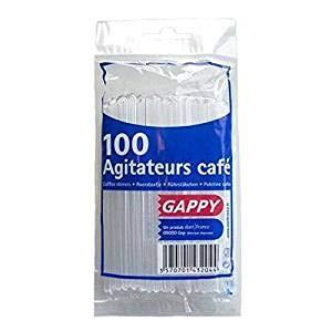 Agitateur à café jetable 11 cm • Bâton à remuer pour gobelet à café • Touillette • Agitateur blanc jetable VENDU PAR SACHET DE (100)