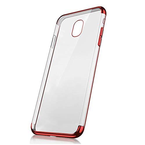 Galaxy J5 2017 Hülle,Chrom Hülle für Galaxy J5 2017,MoreChioce Luxus 3 in 1 Durchsichtig Weiche Silikon Flexible Gel Case Handyhlle für Galaxy J5 2017 / J530 Premium Rot Kratzfeste Bumper