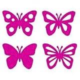 efco Filz Schmetterlinge sortiert Miniatur, Polyester, Fuchsia, 40x 50mm, Set 8