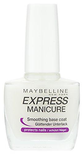 Maybelline Express Manicure Glättender, Unterlack, sorgt für eine glatte Nageloberfläche, schützt vor Verfärbungen, mit zartem Glanz, 10 ml