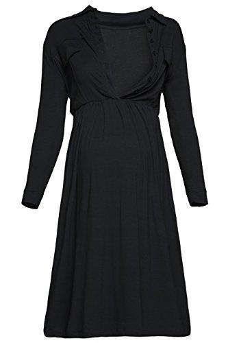 Happy Mama. Para Mujer Vestido Premamá Lactancia cuello clásico. 703p (Negro, EU 44/46, 2XL)