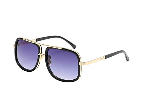 HUILIN Luxusmarke Designer Shuangliang Quadrat Sonnenbrille Männer und Frauen Retro Fahren Coole Farbverlauf Sonnenbrille Männer, dunkelgrau