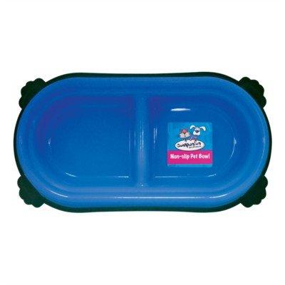 Double Pet Food/Water Bowl Non-Slip (Blue)