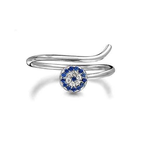 Bling Jewelry Simulato Zaffiro CZ Evil Eye impilabile Argento 925 anello fuso a (Evil Eye Anello)