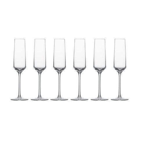 Schott Zwiesel Sektglas mit Moussierpunkt 7, 6er Set, Pure, Schaumwein, Form 8454, 209 ml, 112415