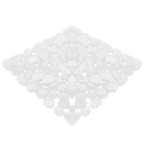 Olycism Glow in The Dark Steine 100 Stück Garden Pebbles Luminous Cobblestone Fantastische DIY Dekoration für Garten-Yard im Durchgang, Fenster Gras Fish Tank Dekorative Stein - Weiß