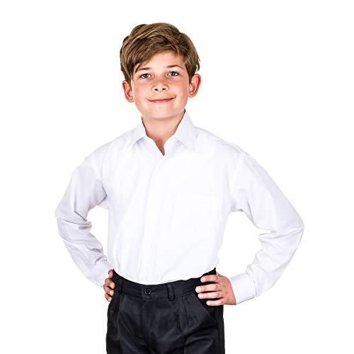 Jungen Langarm Anzug Hemd bügelleicht in vielen Farben für Hochzeit Kommunion M473ws Weiß 2/86 / 92