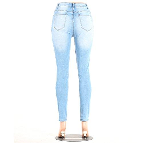 Sentao Pantaloni Skinny Jeans Donna Leggings Ginocchia Strappati Stile 1