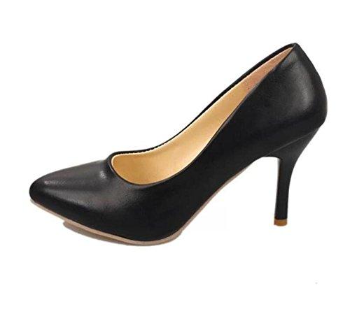 LDMB Damen Einzeln Schuhe Fine Mit High-Heeled Arbeit Mit Vier Jahreszeiten Schuhe Black