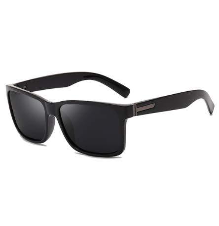 WENZHEN Polarized Simple Style Outdoor Rechteck Sonnenbrille, Schwarz