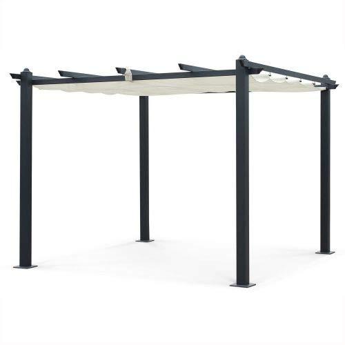 Alice's Garden Pergola Aluminium - Condate 3x3m - Toile écrue - Tonnelle idéale pour Votre terrasse, Toit Retractable, Toile coulissante, Structure Aluminium