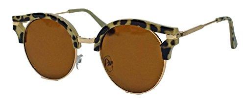 Round Kitten : Damen Cateye Sonnenbrille mit runden Gläsern RC11 (Havana)