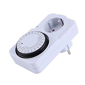 Heaviesk 24 Horas Mecánico Enchufe eléctrico Temporizador Programador Interruptor de Encendido Zócalo Ahorro de energía EE. UU./ EU Enchufe Color Blanco