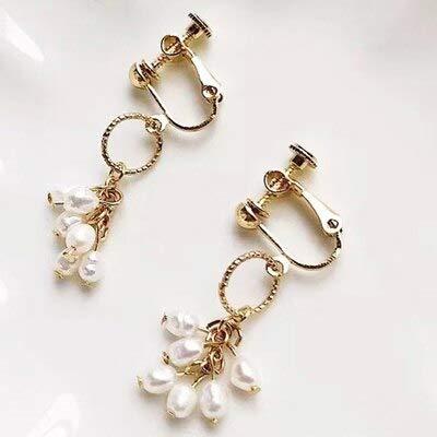 YUANEHHK Damen Ohrringe Weiße Einfache Perle Clip Auf Ohrringe Nicht Piercing Ohrbügel Ohrringe Für Frauen Elegante Süßwasser Perle SchmuckB (Opal Ohrringe Auf Clip)