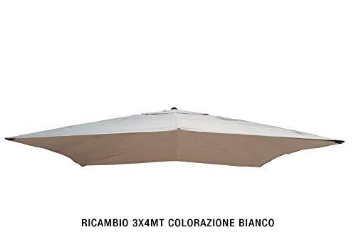 FDM OVERSEAS Toile de Rechange pour Parasol 3 x 4 m Couleur Blanche