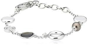 FOSSIL  JF85283040 Damen Armband Edelstahl Rauchquarz Zirkonia Perle 18,5 cm + 4 cm Verlängerung
