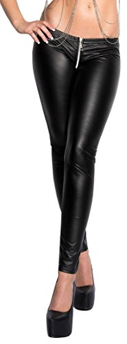 Sexy KouCla Leggings mit Zipper im Wetlook M/L