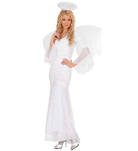 Nick and Ben Engel Kostüm in weiß für Damen und Kinder | 3-teilige Verkleidung | Kleid, Flügel, Heiligenschein| Samt mit Spitzen: Größe: L