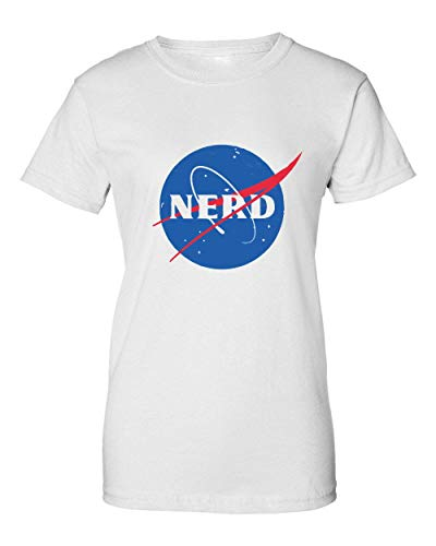 Nerd Inspired by NASA Logo Cool Nolifer Camiseta de Mujer Small