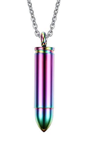 Vnox Edelstahl Gewehrkugel Anhänger Einäscherung Urn Halskette für Männer,freies Kette,Regenbogen (Regenbogen-halskette)
