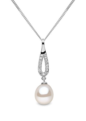 Kimura - Ciondolo, in argento con perle d'acqua dolce, 8,5 mm, a goccia, con catena da 40 cm
