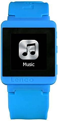 Lenco MP3 Sportwatch-100 Bluetooth Sportuhr mit MP3 (Micro-USB, Touchscreen, Schrittzähler, spritzwassergeschützt nach Norm IPX-4, Silikon-Uhrarmband) blau