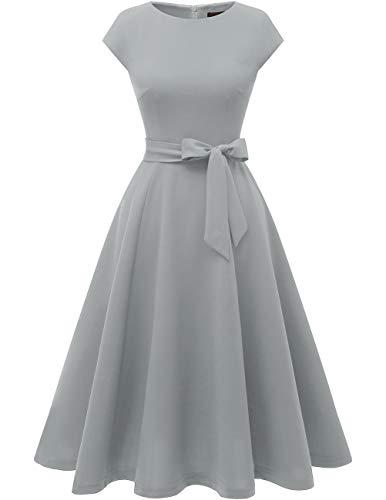 Dresstells Damen Midi Sommerkleid 1950er Vintage Rockabilly Kleid Hochzeit Cocktailkleid Grey XS