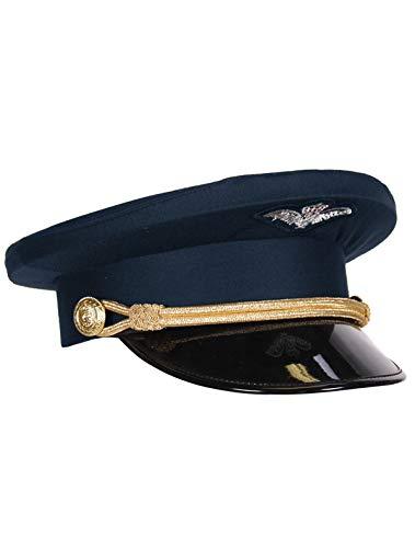 (Kleidung zum Feiern Piloten-Mütze Marine Blau mit Kordel & Lackschirm | Größe 57, 59 oder 61 | Schirmmütze Dunkelblau | Flugkapitän Uniform Flugzeug Erwachsene Pilotenmütze Flieger (57))
