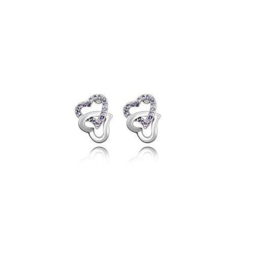 Boucles d'oreilles 2 coeurs cristaux swarovski elements plaqué or blanc Violet