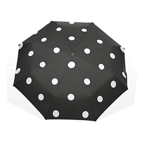 GUKENQ - Paraguas de Viaje Ligero con diseño de Lunares, Color Blanco y Negro, para Hombre, Mujer y niño, Resistente al Viento, Plegable y Compacto