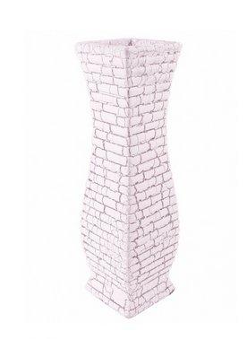 Ceramic 30cm Greek Sparta Vase In White And Silver
