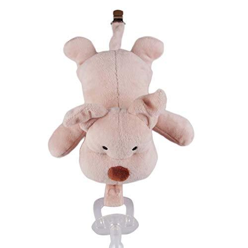 Tomasa Stofftier Spielzeug- Baby Schnuller mit Plüsch Puppe Spielzeug Abnehmbare Silikon Nippel Schnullerpuppe (Schwein) - Schwein-schnuller