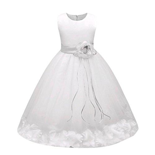 Sannysis Mädchen Kinder Tüll Blume Kleider Blumenmädchenkleider Hochzeitskleid Brautjungfern Kleid Prinzessin Hochzeit Abendkleid Langes Kleid Festzug Cocktailkleid Ballkleid (130, Weiß)