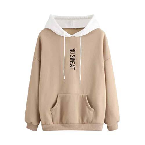 iHENGH Sweatshirt Tops,Women LangäRmeliges ÄRmel Kapuzen Sweatshirt Pullove Tops Bluse