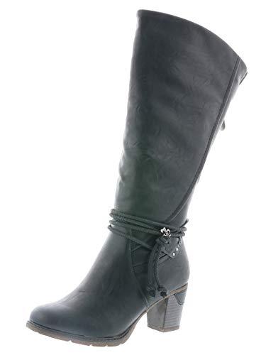 Rieker Damen Klassische Stiefel 96059,Frauen Boots,Reißverschluss,Trichterabsatz 6.4cm,schwarz, EU 40