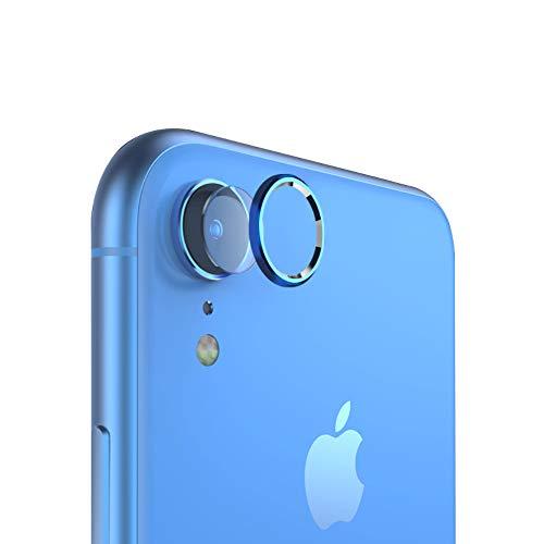 qichenlu 3X Kamera Glas Foie + 2X Kamera Alu Schutzring (Blau) für iPhone XR, iPhone XR Rückseite Kamera Schutz Set,Linsen Metall Rahmen Klar 6D Willow Glas Kratzfest Kamera Hinten Schutz Willow Glas